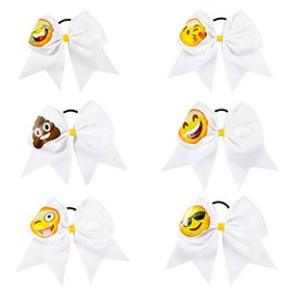 "Wholesale Blue Ribbon Wholesale - 7.5"" High Quality Fashion Handmade Solid Ribbon Emoji Cheer Bow with Elastic Hair Band for Girls Kid Hair Accessories"