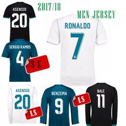 Wholesale Long Sleeves Jersey - 2017 Real madrid Asensio Jersey soccer Long sleeve 17 18 RONALDO KROOS AWAY RAMOS ISCO MODRIC Marcelo camiseta de fútbol 3RD SIZE S-4XL