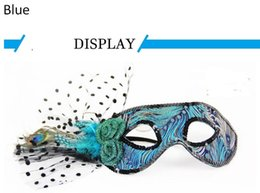 Wholesale Masquerade Queen Costume - Wholesale-Halloween mask masquerade mask princess Venice half face mask party queen sexy feather mask