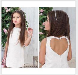 Wholesale Summer Love Princess Dress - Cute Girl Love Halter Dress 2016 Summer New Girls Sleeveless Vest Dresses Solid Color Children Cotton Princess Dresses 90-130cm 5pcs lot