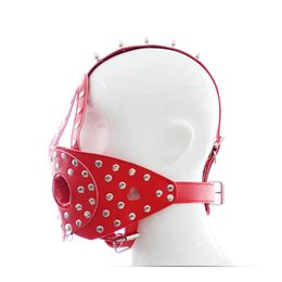 Wholesale Bdsm Slave O Ring - Black Red leather head harness O ring gag with cover bdsm fetish cosplay slave bondage restraints mouth gags mask hood sex toys