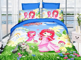 Wholesale Strawberry Girl Cover - Girls strawberry shortcake bedding set cartoon bedclothes for single twin double beds include duvet cover sheet pillowcase 3 4Pc