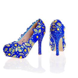 Canada Blue Lace Flower Shoes Glitter Chaussures De Mariage Bleu Strass À Talons Hauts Chaussures De Mariée À La Main Lady Formal Dress Chaussures Plus La Taille cheap blue glitter shoe laces Offre