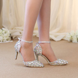 Wholesale Pink Rhinestone Sandals - Pointed Toe Rhinestone Shoes Summer Sandals Ankle Straps Lady Kitten Heel Shoes AB Crystal Wedding Party Shoes Banquet Pumps