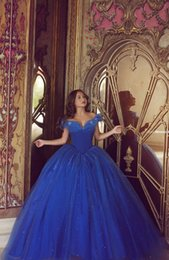 Wholesale Stunning Princess Prom Dresses - Princess Quinceanera Dresses Royal Blue Ball Gowns with Butterfly Off Shoulder Stunning Sweet 16 Party Prom Dresses Long Floor Length
