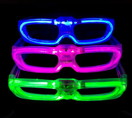 Wholesale Luminous Rave - popular party Led shutter glow cold light glasses light up shades flash rave luminous glasses Christmas favors cheer atmosphere props