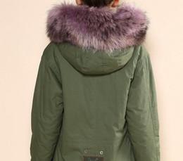 Wholesale Blue Rabbit Jacket - Good quality Lavender fur Snow mini parka MR & MRS FURS Canvas shell parka MR & MRS itlay rabbit fur lined army jackets