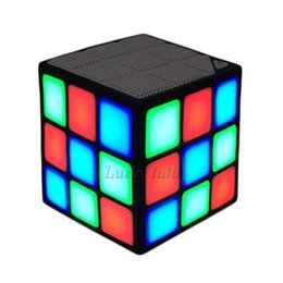 Wholesale Free Christmas Mp3 - Christmas gift Magic Rubik's Cube Portable LED RGB Light Deep Bass Bluetooth 4.0 Wireless Speakers with Build in Microphone Hands-free Funct