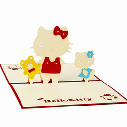 Wholesale Three Dimensional Greeting Cards - three-dimensional greeting cards cute Hello Kitty creative card postcard 3D Handmade Card 3D Pop UP Gift