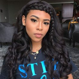 Wholesale Long Brown Braided Wig - Body wave human hair glueless full lace wig with baby hair braided natural color lace front human hair wigs for black women