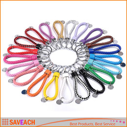 Wholesale Leather Key Chain Car Logo - PU Leather Rope Woven 19 colors keychain men women key holder chain ring car llaveros bag pendant Charm, 500PCS Can Print LOGO