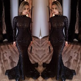 Wholesale Sexy Club Dresses Sparkly - Bling Black Sequined Evening Dresses 2017 High Neck Long Sleeves Mermaid Prom Dresses Long Sparkly Sequins Red Carpet Dresses Cheap