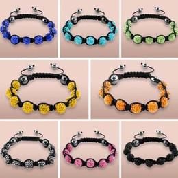 Wholesale Multi Shamballa Bracelet - Wholesale 10mm black White Mixed multi mix Rhinestone Crystal Shamballa Bracelets shamballa jewelry bracelet for men women DIY