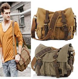 Wholesale Motorcycle Vintage Messenger Bag - 2016 Canvas Leather Crossbody Bag Men Military Army Vintage Messenger Bags Large Shoulder Bag Casual Travel Bags I AM LEGEND