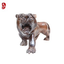 Wholesale Tiger Wood Carvings - Rosewood crafts Burma ebony wood carving decoration Feng Shui Zodiac tiger Home Furnishing shipping