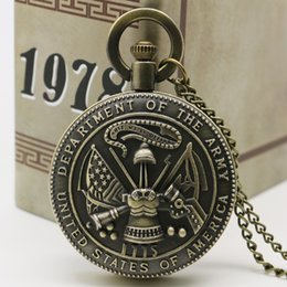 Wholesale Wholesale Vintage Style Pocket Watch - Wholesale-New style Vintage Bronze The USA Department Of The Army Pocket Watch With Necklace Chain
