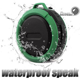 Wholesale Suction Hook Wholesale - C6 Speaker Bluetooth Speaker Wireless Potable Audio Player Waterproof Speaker Hook And Suction Cup Stereo Music Player With Retail Package