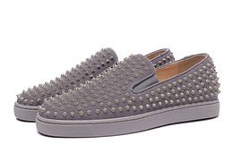 Wholesale Causal Slip Loafers Men - New Men Women's Gray Suede with Spikes Flat Shoes Brand Design Red Bottom Genuine Leather Loafers Causal Shoes Plus Size 36-46