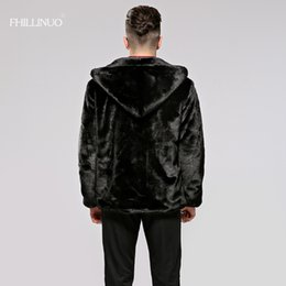 Wholesale mink fur coat hood - FHILLINUO Men fur coat with hood imitation fur mink coats long sleeve men clothing overcoat fur outerwear faux jacket plus size