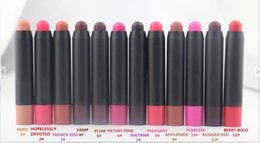Wholesale Different Coloured Lipsticks - Top Quality NUDE PATENTPOLISH VALVET Matte Lip Pencil Lipstick Makeup High Quality Cosmetics 12 Different Colours 2.3g Free Shipping