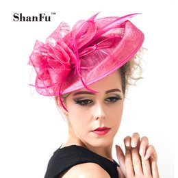 Wholesale Vintage Feather Headband Hat - Shanfu Ladies Large Feather Fascinators Sinamay Hats Vintage Women Hair Accessories With Headband For Wedding Party Races C 12391