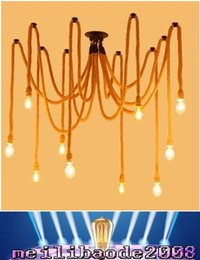 Wholesale Rope Chandeliers - 5 6 8 10 12-Lights E27 Rope DropLight Edison Bulbs Vintage Net Spider Chandeliers Dining Room Ceiling Pendant Bar Lamp DIY Cafe Fairy lights