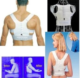 Wholesale Therapy Bands - Free Shipping Magnetic Therapy Posture Support Corrector adjustable Back tourmaline Belt Band Pain Shoulder Supports Braces