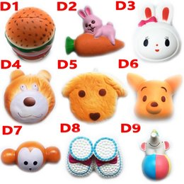 Wholesale Straps Dogs - DHL Squishy Toy hamburger rabbit dog bear squishies Slow Rising 10cm 11cm 12cm 15cm Soft Squeeze Cute Strap gift Stress children toys D10