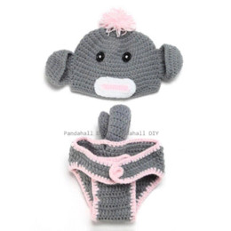 Wholesale Photography Props Monkey - Baby Garment Photography Props Cute Monkey Design Handmade Crochet Baby Beanie Costume Gray 350x410mm; 2pcs set beanie with ear flap