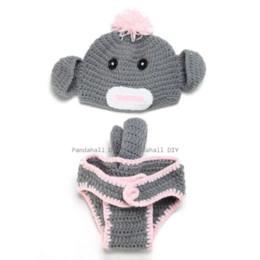 Wholesale Crochet Monkey Baby Beanie - Baby Garment Photography Props Cute Monkey Design Handmade Crochet Baby Beanie Costume Gray 350x410mm; 2pcs set beanie with ear flap
