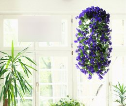 Wholesale Cane Wall - Free Shipping Artificial flowers Simulation Hydrangea Violet hanging flowers Cane wisteria series For Wedding decora Wall decoration Party