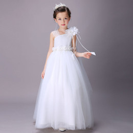 white princess bridesmaid dresses Coupons - Super Cheap Elegant Girl Wedding Bridesmaid Dresses Summer White Long Tulle Evening Party Princess Costume Lace Teenage Flower Girls Clothes