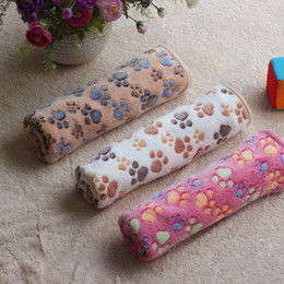 Wholesale eco fiber - new arrival Absorbent Dog Cat Pet Necessary Cleaning Drying Bath Towel 40*60cm Soft Warm Paw Print Small Pet Blanket Bed Mat