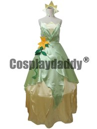 Wholesale Tiana Dress - COSPLAY Dress Princess and Frog Tiana Costume tailor made kid adult GOWN