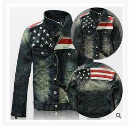 Wholesale flag denim jacket - Retro Flag Of The United States Jackets For Men Wholesale Long Sleeved Denim Jacket Personalized Color Men Coat Free Shipping Men Jackets
