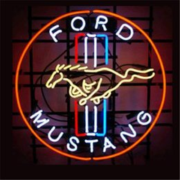 """Wholesale Neon Lights Decorating - Ford Mustang Neon Sign Custom Store Display Beer Bar Pub Club Led Light Signs Shop Decorate Real Glass Tube Bulbs 17""""x14"""""""