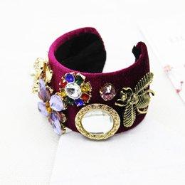 Wholesale Drills Retro Bracelets - Fashion retro Baroque bangle women crown gem crystal bee drill female wide - brimmed crystal flower bracelet 1391