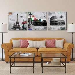 Wholesale 3pcs Oil Painting - 3Pcs Modern Giclee Prints Artwork New York Statue of Liberty Rome Colosseum and Paris Metro Eiffel Tower on Canvas Wall Art