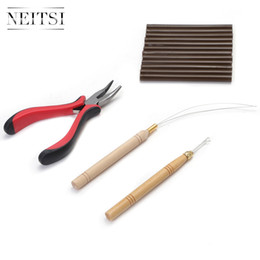 Wholesale Glue Stick Hair - Neitsi one set Tools Ring Hair Pliers For Hair Extensions(12pcs hot melted glue sticks &1pc Hook Needle +&1pc Loop Wood Puller & 1pc Pliers)