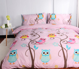 Wholesale Pillowcases For Kids - Wholesale- Cartoon Kids Bedding sets Single For Children Pink owl Duvet Quilt cover set, Include 1 Duvet Cover And 1 Or 2 Pillowcase #DP15