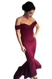 Wholesale Dear Dress - Dear lover Maroon  Navy Off-shoulder Elegant mermaid Dress Summer Style 2016 women formal dresses for Special occassion LC60171