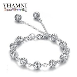 Wholesale Good Luck Bead Bracelets - YHAMNI Wholesale Real 925 Sterling Silver Bracelet Trendy Good Luck Hollow Beads Fashion Bracelets for Women Jewelry Gift B006
