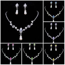 middle eastern pearl Coupons - Bridesmaid Jewelry Set for Wedding Faux Pearls Rhinestone Necklace Water Drop Earrings Jewellery Set Party Jewelry Set
