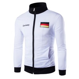 Испанские флаги онлайн-Fall-Basketball Jersey 2016 Men Sports Coat Casual Cardigan Jacket Men Collar Embroidery Germany Spanish Flag Sweatshirt Jacket Men