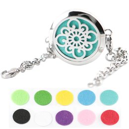 """Wholesale Perfume Bracelets - Cute Abstract flower 30mm Aromatherapy Essential Oils Stainless Steel Perfume Diffuser bracelet Locket (length8.6"""") include 10pcs felt pads"""