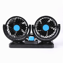 Wholesale Strong Cool Usb - 2 Head 360 Degree Rotating Car Fans Strong Wind Low Noise Car Truck Air Conditioner Portable Auto Air Cooling Fan 12V 24V Black