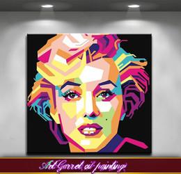 Pintura a óleo fundo preto on-line-Frete grátis Handmade Moderna pintura a óleo Abstrata na lona Arte decorativa Pop art pinturas Monroe para Sala de estar Fundo preto