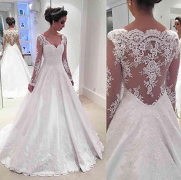 Wholesale Tailor Made Weddings - Vintage Tailor Made Wedding Dresses Scoop Long Sheer Sleeve Wedding Gowns Sheer Back With Applique Sweep Train Custom Made Bridal Dress