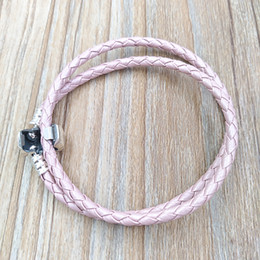 Wholesale Double Leather Charms Bracelet - Authentic 925 Silver Moments Double Woven Leather Bracelet - Pink Fits European Pandora Style Jewelry Charms Beads Handmade 590705CMP-D