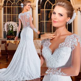 Wholesale Model Button - C.V New Design Long Sleeve Illusion V Neck Mermaid Wedding Dress Pearls Beaded Lace Appliques Fish Tail Pure White Wedding Gowns W0021